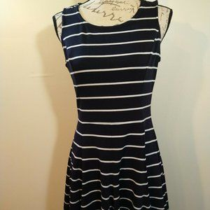 Eliza J Fit n Flare Dress Black/White Striped